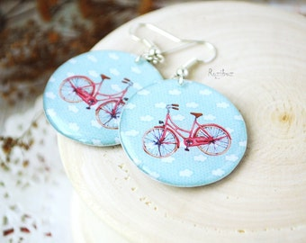 Pink bicycle earrings -  white blue sky, summer earrings, travel earrings, resin jewelry, gift idea for her - made to order