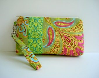 Wristlet/Wrist Clutch/Zipper Clutch/Zipper Pouch/Detachable Wrist/Made To Order/Cotton Print/ Green Pink Yellow/ Cosmetic Bag/Made To Order
