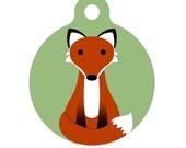 Pet ID Tag - Sitting Pretty Fox Pet Tag, Dog Tag, Cat Tag