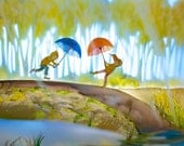 Rain Falls - large photographic print from the picture book Fall Leaves, illustrated by Elly MacKay, published by HMH