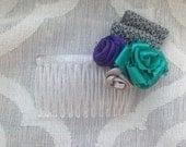 Ribbon Rose Hair Comb - Purple Gray Teal