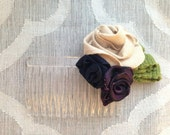 Ribbon Rose Hair Comb - Natural Navy Purple Green