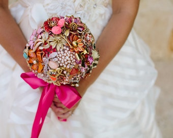 Hot Pink Brooch Bouquet - Vintage Brooches & Jewelry | Custom Modern Heirloom Bouquet - Medium - Handmade in the USA