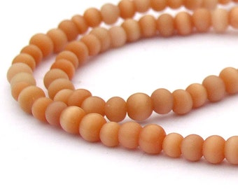Cats Eye Beads Orange 4mm Glass Beads Strand