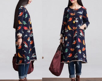 Casual A Shaped Long Sleeved Cotton T-shirt Blouse for Autumn and Spring
