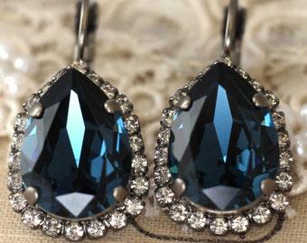 Blue Navy earrings, Swarovski earrings,  Dark blue Swarovski Drop earrings, Crystal Blue Navy Wedding jewelry, Bridesmaid Blue earrings