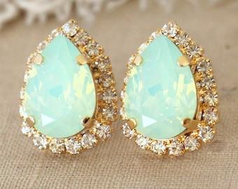 MInt Earrings,Swarovski Mint Opal Earrings,Bridesmaid Mint Earrings,Gift For her,Bridal Mint Earrings,Teardrop Mint Earrings,Mint Jewelry