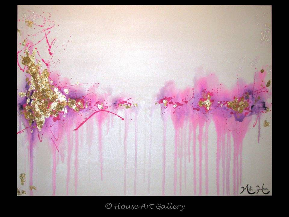 Pink Abstract Canvas Art: EXTRA LARGE Original Abstract Painting Pink By HOUSEARTGALLERY