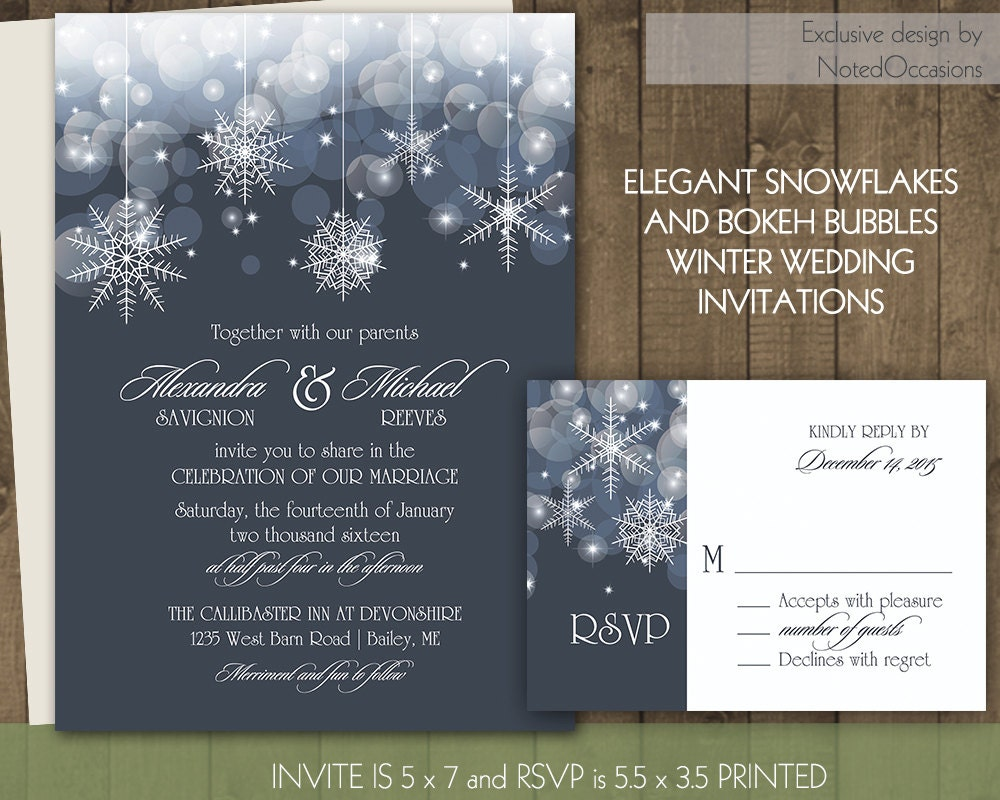 Winter Wedding Invitation Wording: Winter Wedding Invitations Bokeh And Snowflake By