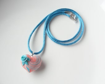 Heart necklace in coral and teal colours handmade from polymer clay