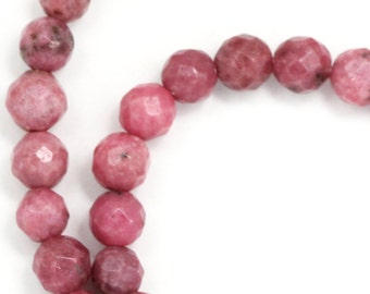 Rhodonite Beads - 6mm Faceted Round