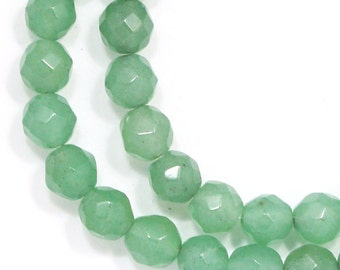 Green Aventurine Beads - 6mm Faceted Round