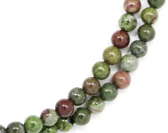 CLEARANCE. Green and Red Jasper Beads - 4mm Round - Full Strand