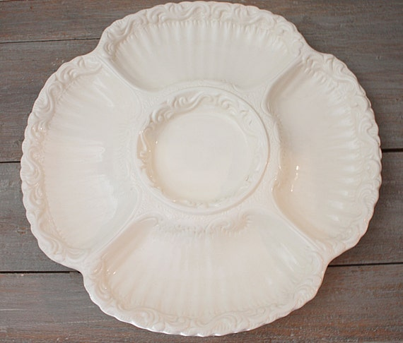 Vintage White Round Divided Serving Platter Italy