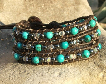 Amethyst Crystals and Hematite- Leather Wrap Bracelet