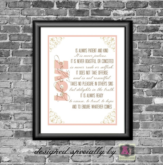 1 corinthians 13 printable wall art personalized by. Black Bedroom Furniture Sets. Home Design Ideas