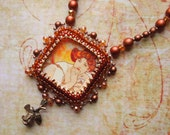 Bead Embroidery Necklace Mucha Rose