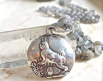 Sterling EASTER BUNNY Rabbit Labradorite Gemstone Necklace, STERLING Chain Choice Avail.  Wire Wrapped Oxidized Labradorite Chain.