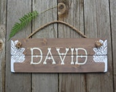 Rustic Nursery Sign - Custom Name Wood Wall Hanging - Hand Painted - Nature Inspired