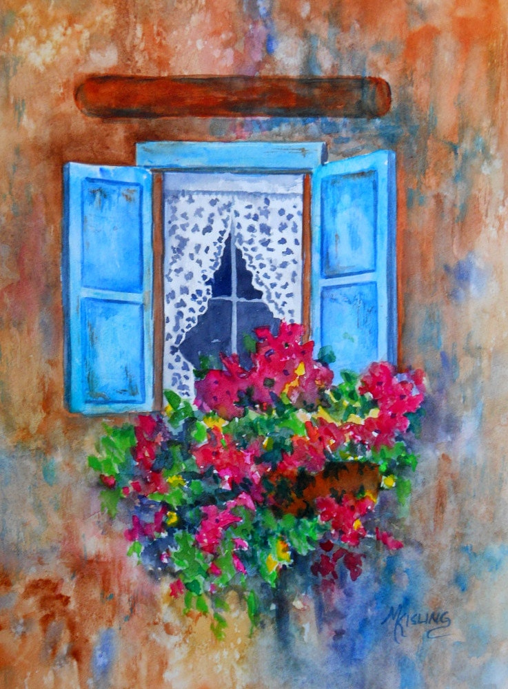 Watercolor Old Window Flower Box Stucco Blue By