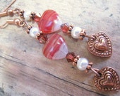 SALE 25% off! Czech Glass Heart Earrings in Rust Red and White Pearls and Fancy Bali Copper Findings
