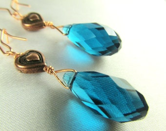 Copper Heart and Blue Teal Crystal Drop Earrings on oversized copper kidney wires -matching set available