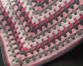 Granny Square Baby Blanket,Toddler Blanket, Fabric Lined, girl, baby, gift, shower, zoo, jungle, pink, giraffe, elephant, frog, hippo,