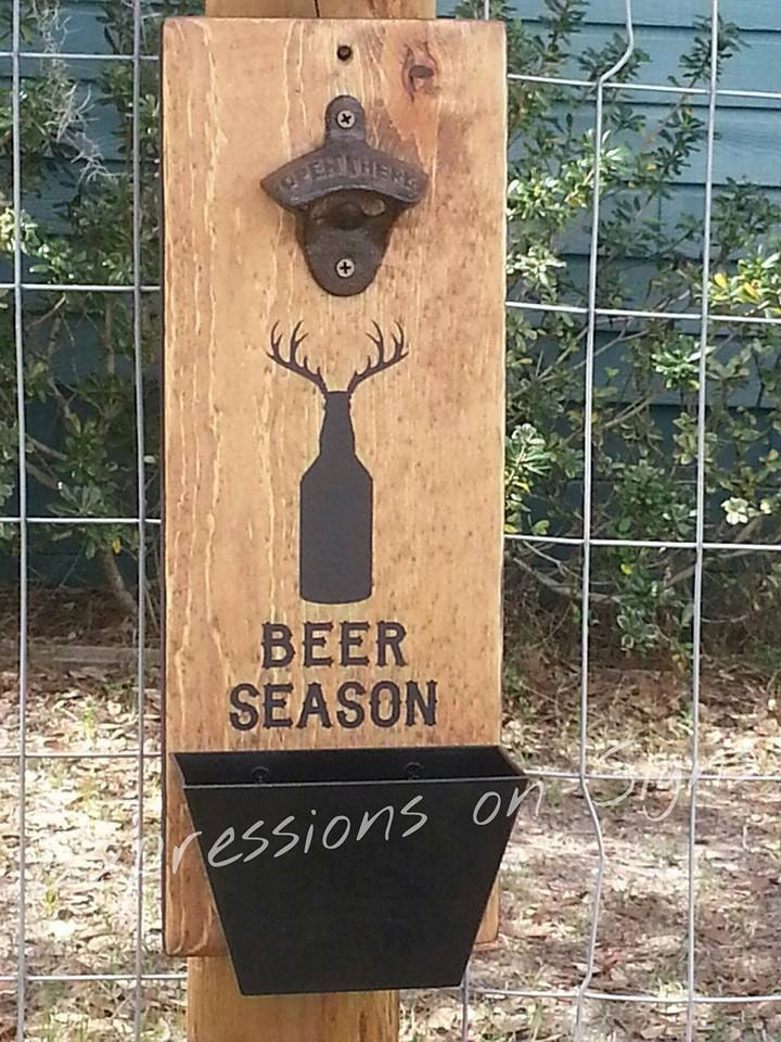 Wall mount bottle opener and cap catcher by expressionsonsigns - Wall mounted beer bottle opener cap catcher ...