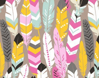 Feather Fabric by the Yard Maude Asbury Fabric Fringe in Pink from Luckie for Blend Fabrics One Yard