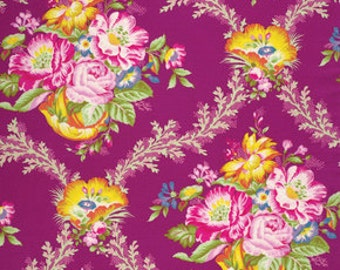 Jennifer Paganelli, Good Company, Vickie in Garnet, Cotton Fabric, Floral Quilting Fabric, One Yard