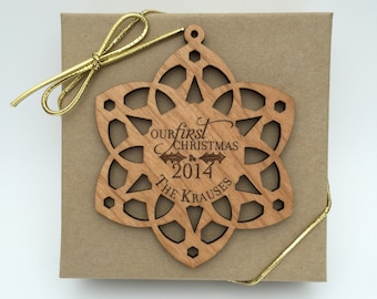 Our First Christmas Ornament, Personalized Wedding Wood Snowflake, Custom Laser Engraved