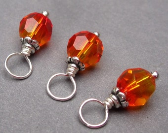 Fire Opal Swarovski Crystal Charms, Bead Dangles, Stitch Markers, Wine Glass Charms, Interchangeable Pendants, 6mm Swarovski Crystal Beads