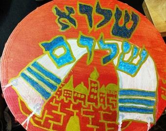 "Shalu Shalom Tallis -Jerusalem tambourine Burnt red, blues and golds. 10"" inch Handpainted"
