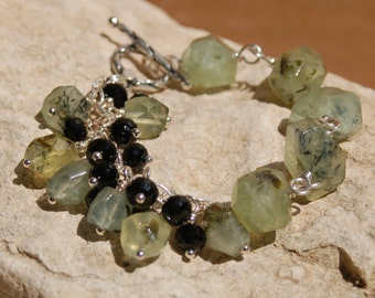 Moss Agate with Black Crystals Bracelet and Earrings......item #5478