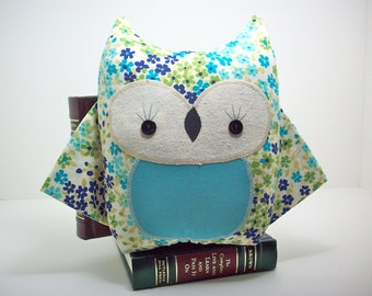 Owl pillow toy in blue and teal floral, owl plush toy, owl nursery decor