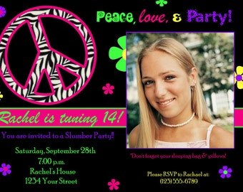 Peace Sign Invitation -digital file