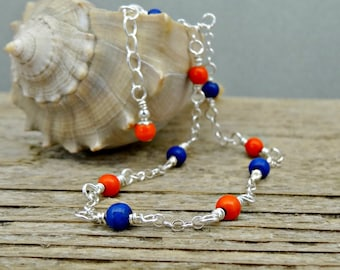 Blue Orange Beaded Anklet, Howlite Gemstones and Sterling Silver Ankle Bracelet, Dainty Jewelry
