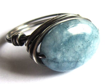 Aquamarine Sterling Silver Ring Wire Wrapped Fashion Jewelry