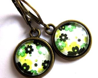 Green Flower Earrings Boho Women Fashion Jewelry