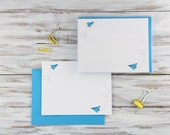 Set of 10 Paper Planes Flat Notecard - Snail Mail - Blue - Postcards