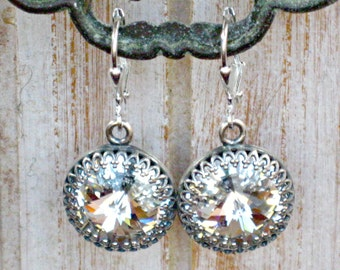 LEVERBACK Earrings for Weddings and Dress Up, Swarovski Crystal and Silver for Bridesmaids and Brides