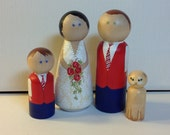 Wedding cake topper bride and groom plus 2 small children or pets peg people custom