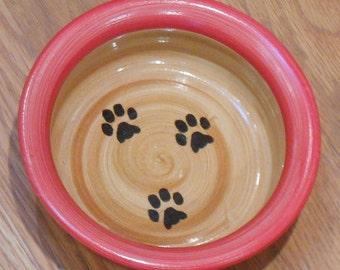 Paw Print Bowl - Red & Tan (Medium)