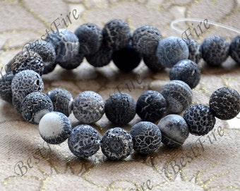 Charm 12mm Black Weathered Agate stone Beads ,agate round stone beads loose strands,beads stone agate