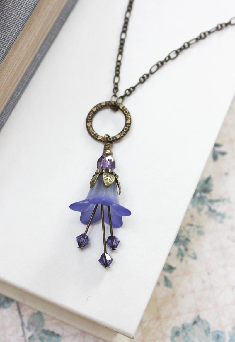 lucite flower necklace bluebell charm lavender purple flower