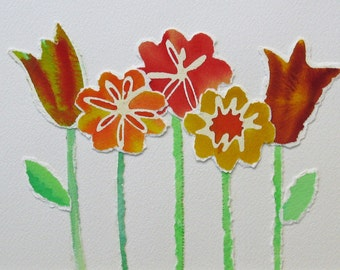 Recycled Garden 2 - Collage of Watercolor Paintings