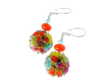 Floral Lampwork Earrings, Colorful Orange Drop Earrings, Handmade Unique Earrings, Lampwork Jewelry, Glass Bead Jewelry, Beadwork Earrings