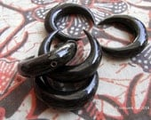 Horns of My Dilemma Carved Black Horn Drilled Crescent Pendant Bead 30mm