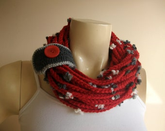 Red Infinity Scarf -Chain crochet scarf with Grey Cuff