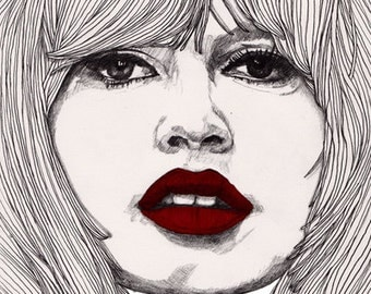 Brigitte with Red Lips - Original Signed Paul Nelson-Esch Drawing Art pencil Illustration portraiture bardot french actress - Free S&H